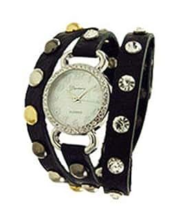 Geneva Designer Inspired Leather Wrap Watch Black