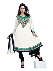 Parinaaz fashion georgette Cream unstitched salwar suit dress material...