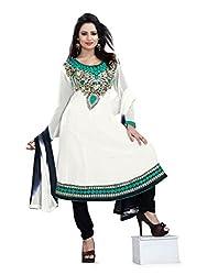 JHEENU georgette Cream anarkali unstitched salwar suit dress material...