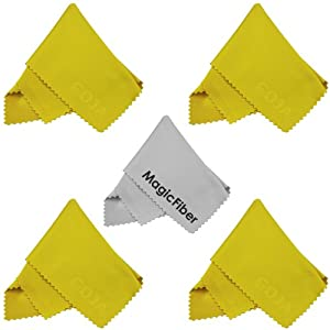 (5 Pack) MagicFiber Microfiber Cleaning Cloths for LCD screen, Camera Lens, Glasses and other delicate surfaces (4 Yellow, 1 Grey) Removes fingerprints and oil with just a swipe!