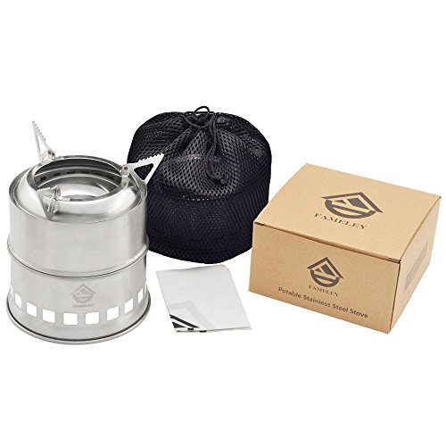 FAMELEY Wood Camping Stove, Folding Lightweight Stoves, Portable Stainless Steel with Nylon Carry Bag for Outdoor Cooking Picnic Backpacking BBQ (Hiking Stove Wood compare prices)