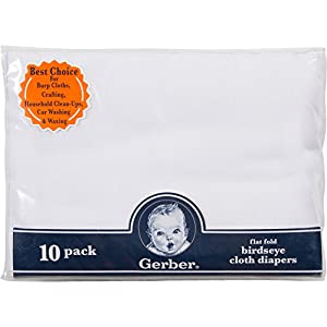 Gerber Birdseye Flatfold Cloth Diapers, White, 10 Count