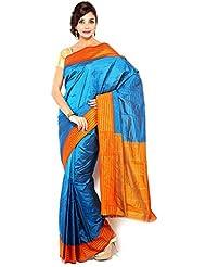 Pure Silk Kanjeevaram Hand Women Saree-Blue-SLV5-VS-Silk