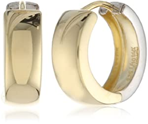 Bonded Sterling Silver and 14k Two-Tone Gold Huggie Hoop Earrings by Amazon Curated Collection
