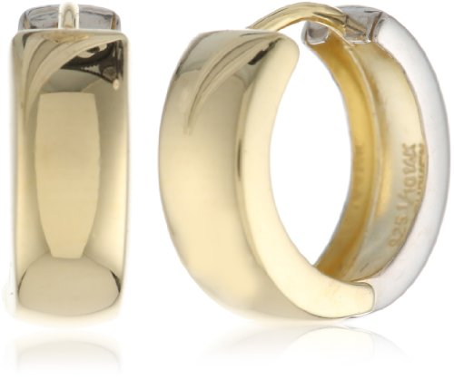 Bonded Sterling Silver and 14k Two-Tone Gold Huggie Hoop Earrings