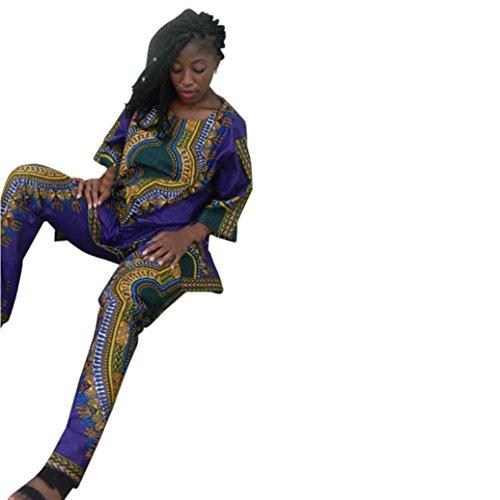 Elevin(TM) Women Summer African National Print Casual Straight Print Tops+Pants (Purple 1-XL)