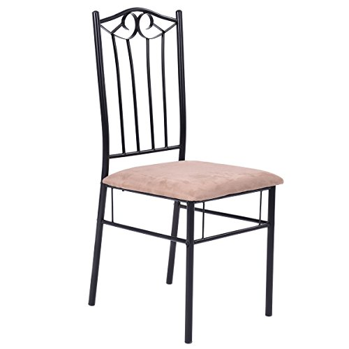 dining set wood metal table and 4 chairs kitchen breakfast furniture