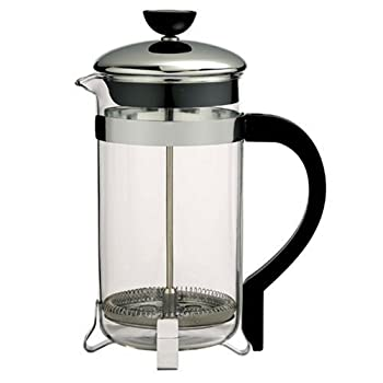 Classic design french press consists of a narrow cylindrical glass jug, equipped with a lid and a stainless plunger, which fits tightly in the cylinder glass beaker and which has a fine wire mesh acting as a filter. Coffee is brewed by placing the co...