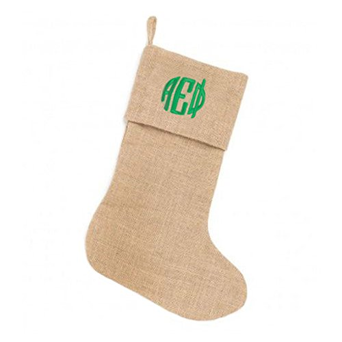 alpha-epsilon-phi-circle-monogram-burlap-christmas-stocking-tan-w-kelly-green