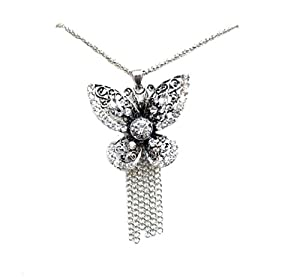 Crystal Diamante Antique Silver Butterfly Party Dress Hen Chain Necklace Pendant Fashion Jewellery