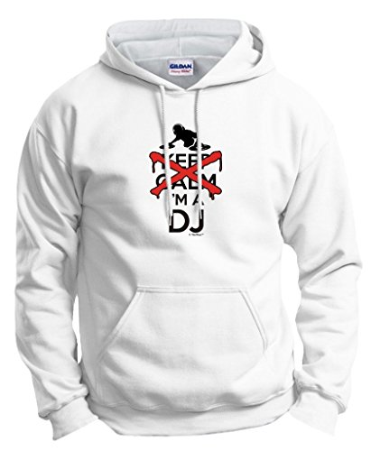 I Can't Keep Calm I'm a DJ Disc Jockey Mixer Hoodie Sweatshirt Large White