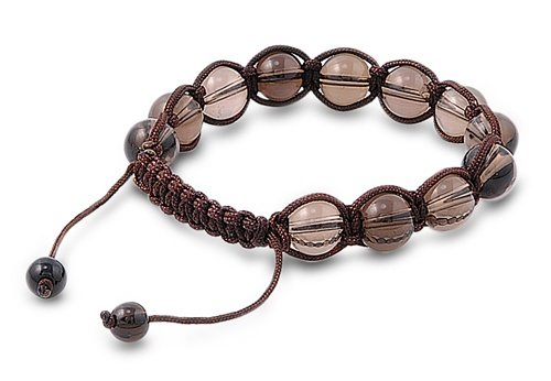 Tibetan Knotted Bracelet - Smokey Quartz w/ Brown String - Bead Size: 10mm, Adjustable Length