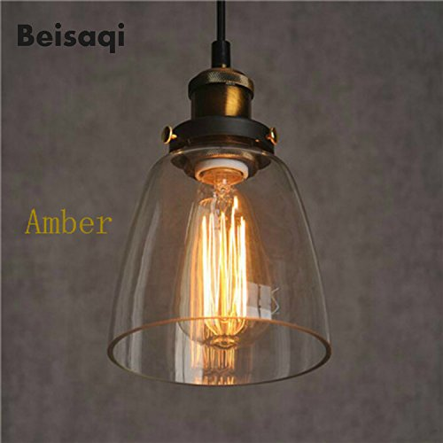 Vintage Industrail Metal Glass Pendant Ceiling Light Retro Lamp Shade