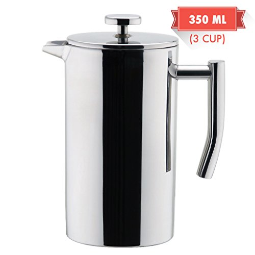 Double Wall Tea & Coffee Brewer | Stainless Steel Coffee Pot & Maker - French Press 12 oz or 350 ml Coffee Pot | by MIRA (Stainless Steel Single Cup compare prices)