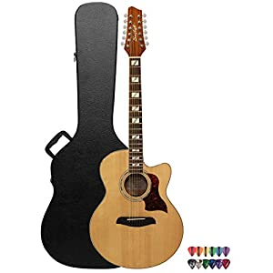 Sawtooth Solid Spruce Top Jumbo Cutaway Acoustic Electric Guitar with Flame Maple Back and Sides, Fishman Preamp, Hard Case and Pick Sampler by Sawtooth