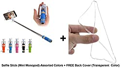 Selfie Stick-mini with Aux cable , No bluetooth, No charging required (assorted Colors) + 01 Pc Free Back Cover for Motorola Moto E2 6986