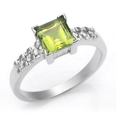 14K White Gold Square Cut Peridot And Diamond Ring Size 6.5