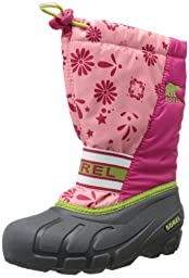 Sorel Youth Cub Graphic 13 Winter Boot, Coral Pink/Green Tea, 6 M US Big Kid