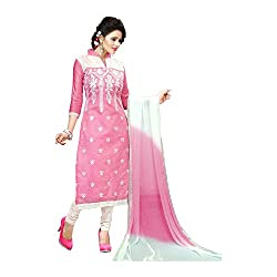 K Mart Pink Churidar Straight Embroidered Salwar Suit Dress Material