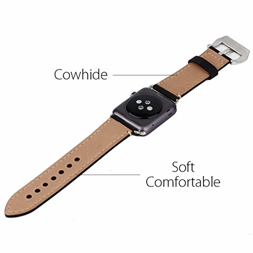 Apple Watch Band, 42mm iWatch Band Strap Premium Vintage Genuine Leather Replacement Watchband with Secure Metal Clasp Buckle for Apple Watch Sport Edition 6