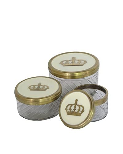 Blue Ocean Traders Set of 3 Round Crown Boxes, Gold