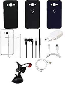 NIROSHA Cover Case Charger Headphone USB Cable Mobile Holder for Samsung Galaxy ON5 - Combo