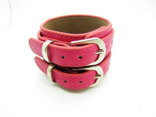 Pink Soft Leather Bracelet Cuff Double Buckle Mens Bracelst Women Bracelet Unisex Bracelet Fashion Bracelet S-2