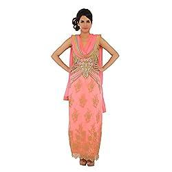 Nirali Women's Net Salwar Kameez SemiStiched Dress Material - Free Size (Pink)