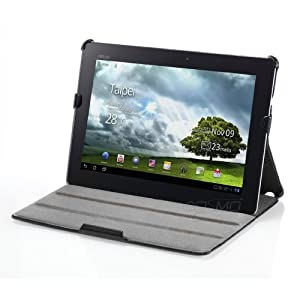 Manvex Compact Leather Folio Case for Asus Eee Pad Transformer Prime TF201 | Includes FREE Screen Protector and Cleaning Cloth - Black