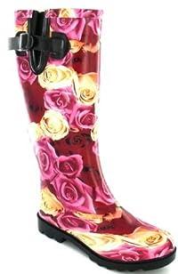 Luxury rose print Wellington boots