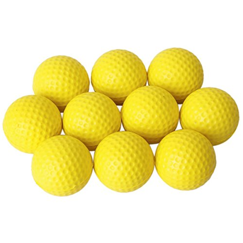 Pixnor 10ST weiche elastische PU-Golfbälle für Indoor Praxis Training Golfbälle (gelb)