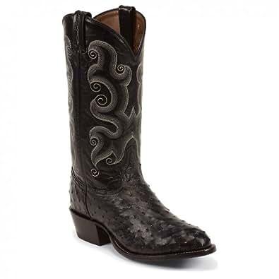 Tony Lama Men's Full Quill Ostrich Cowboy Boot Round Toe Black US