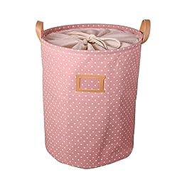 PU/Cotton/Linen Foldable Laundry Basket Storage Bag Dot Practical Bag,Pink