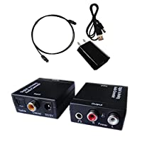 Easyday Digital to Analog Audio Converter with Digital Optical Toslink and S/pdif Coaxial Inputs and Analog RCA and AUX 3.5mm (Headphone) Outputs - 6 Foot Heavy Duty Optical Toslink Cable with Gold Plated Connector Tips Included from Easyday