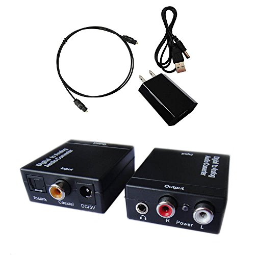 Easyday Digital to Analog Audio Converter with Digital Optical Toslink and S/pdif Coaxial Inputs and Analog RCA and AUX 3.5mm (Headphone) Outputs - 6 Foot Heavy Duty Optical Toslink Cable with Gold Plated Connector Tips Included (Analog To Digital Converter Video compare prices)