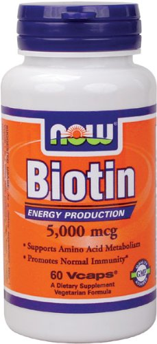 Now Foods Biotin, 60 caps / 5 mg (Pack of 2)