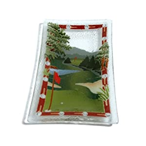 Golf Course 10-Inch Rectangular Glass Tray