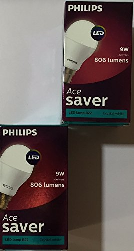 Philips Ace Saver 9W 806 L B22 LED Bulb (Crystal White, Pack of 2)