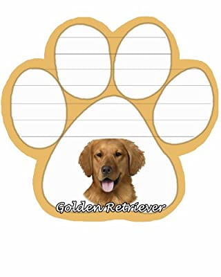 Golden Retriever Notepad With Unique Die Cut Paw Shaped Sticky Notes 50 Sheets Measuring 5 by 4.7 Inches Convenient Functional Everyday Item Great Gift For Golden Retriever Lovers and Owners