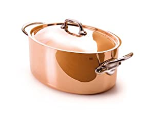 Mauviel M'Heritage Copper 150s 6133.30 7.0-Quart Oval Stewpan with Lid and Cast Stainless Steel Handle