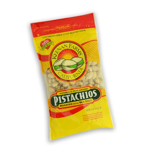 Keenan Farms Pistachio with Sea Salt, In-Shell Reclosable Natural, 12-Ounce Bags (Pack of 6)