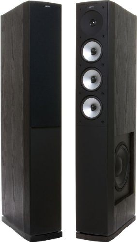 "Jamo S628 Floorstanding Speaker W/10"" Side Woofer For Home Theater Or Audio (Pair In Black)"