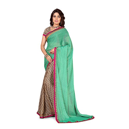 Anusha Medium Aqumarine,Tan Georgette Self Printed With Attached Border Saree