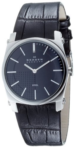 Skagen Mens Watch 859LSLB with Black Leather Strap and Black Dial