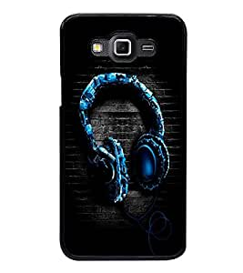 Fuson Premium 2D Back Case Cover Stylish blue Headphone With Brown Background Degined For Samsung Galaxy Grand 3 G720::Samsung Galaxy Grand Max G720