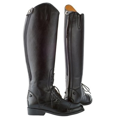 Saxon Equileather Field Boots With Elastic Black Ladies 8 Regular
