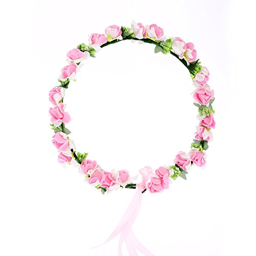 Cfrmall Flower Wreath Headband Floral Crown Garland Halo for Wedding Festivals (Pink)