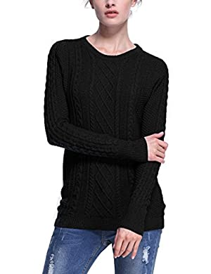 Roco Rose Women's Crew Neck Ribbed Knited Long Sleeve Tunic Sweater 522800330XL