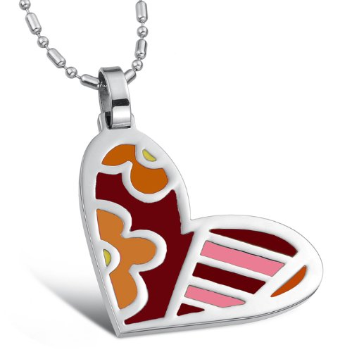 Opk Jewellery Necklace Cute Stainless Steel Fashion Colorful Love Heart Pendant Necklets For Men's And Women's Good Gift
