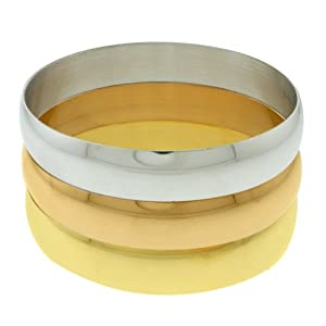 Set Of 3 Stainless Steel High Shine Bangle Bracelet Silver Yellow and Rose Gold